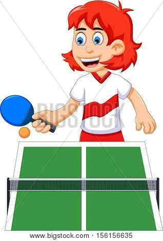 funny  teen girl cartoon playing table tennis