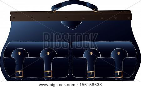 blue valise with two pockets with straps