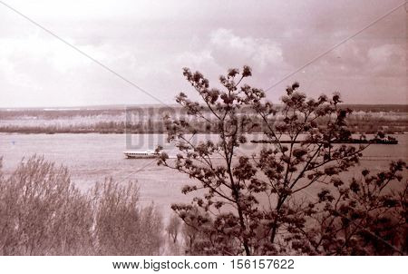 Kaniv Ukraine - May 1964: View of Dnieper River from Tarasova Hora