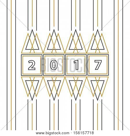 2017 Happy New Year abstract line art greeting card on white background.
