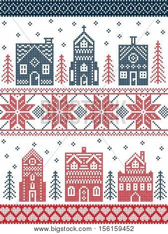 Scandinavian style and Nordic culture inspired Christmas and festive winter village pattern in cross stitch style with gingerbread house, church, little town buildings, trees and snow in red , white, blue