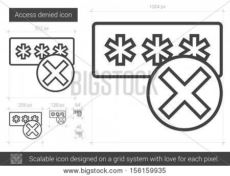 Access denied vector line icon isolated on white background. Access denied line icon for infographic, website or app. Scalable icon designed on a grid system.