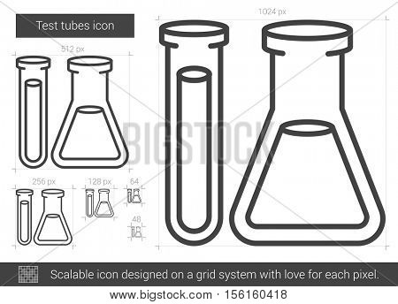 Test tubes vector line icon isolated on white background. Test tubes line icon for infographic, website or app. Scalable icon designed on a grid system.