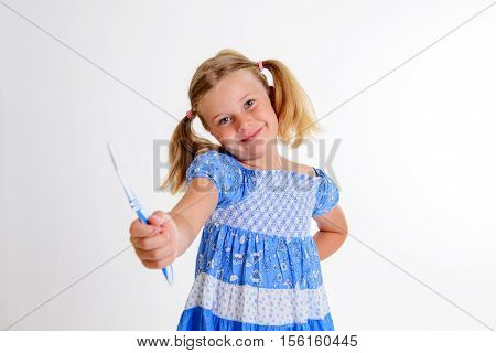 Funny Girl With Space Width And Toothbrush