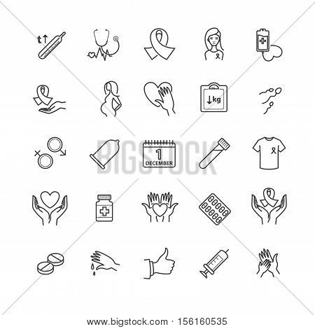 Outline icons - aids, hiv, therapy, opportunistic disease, treatment for your design