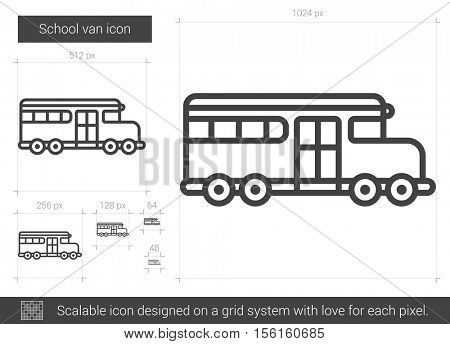 School van vector line icon isolated on white background. School van line icon for infographic, website or app. Scalable icon designed on a grid system.