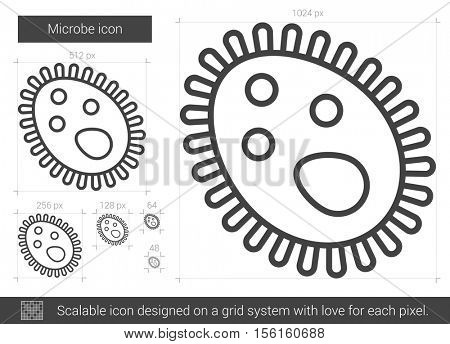 Microbe vector line icon isolated on white background. Microbe line icon for infographic, website or app. Scalable icon designed on a grid system.