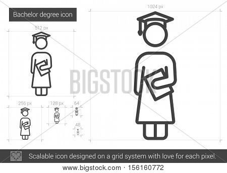Bachelor degree vector line icon isolated on white background. Bachelor degree line icon for infographic, website or app. Scalable icon designed on a grid system.