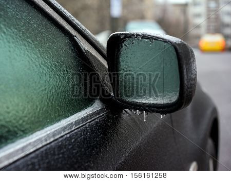 Car Covered With Ice After Freezing Rain