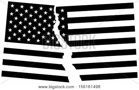Black And White Broken Flag Of Usa