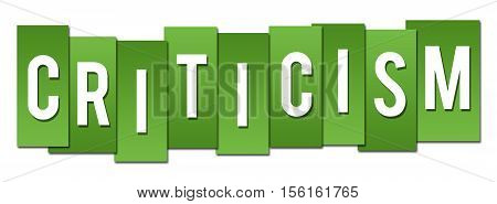 Criticism text written over vibrant green background.