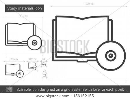 Study materials vector line icon isolated on white background. Study materials line icon for infographic, website or app. Scalable icon designed on a grid system.