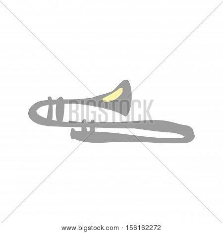 trombone instrument icon image vector illustration design