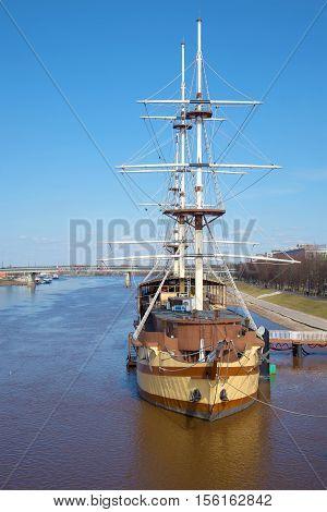 VELIKY NOVGOROD, RUSSIA - APRIL 13, 2016: Floating restaurant frigate