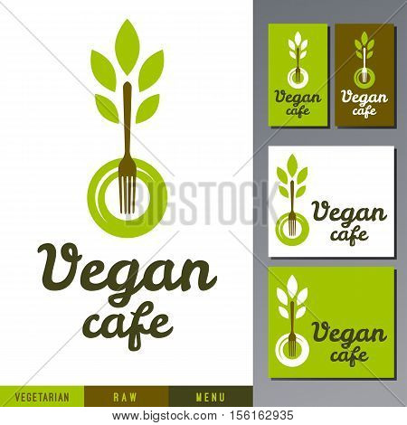 Logo template for healthy organic food products, vegetarian restaurant, vegan and raw cafe menu. Vector fork with leafs on a plate.