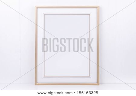 Mockup styled stock photography with plain thin portrait gold frame on a white background overlay your quote promotion headline or design great for small businesses lifestyle bloggers and social media campaigns