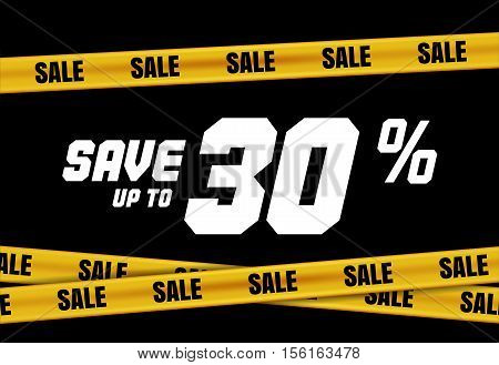 Big Sale Banner With Yellow Tape For Web, Flyer, Shop