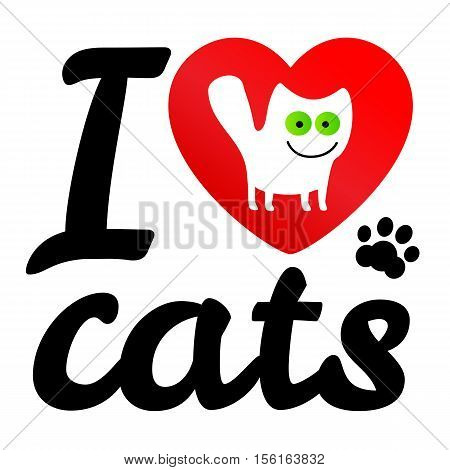 i love my cat. Vector icon illustration. Print white cat with green eyes cartoon style in red heart.