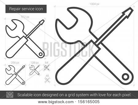 Repair service vector line icon isolated on white background. Repair service line icon for infographic, website or app. Scalable icon designed on a grid system.