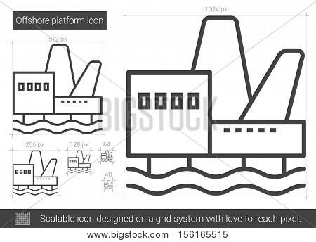 Offshore platform vector line icon isolated on white background. Offshore platform line icon for infographic, website or app. Scalable icon designed on a grid system.