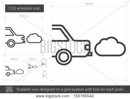 CO2 emission vector line icon isolated on white background. CO2 emission line icon for infographic, website or app. Scalable icon designed on a grid system.