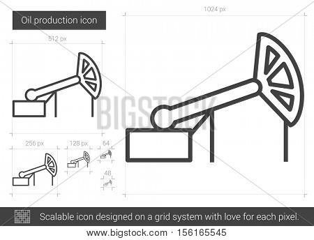 Oil production vector line icon isolated on white background. Oil production line icon for infographic, website or app. Scalable icon designed on a grid system.