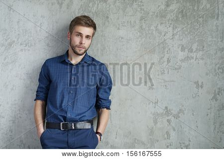 Handsome man in blue shirt