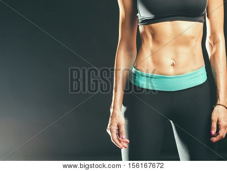 Sport. Woman Sport Body Strong And Beautiful. Front View.