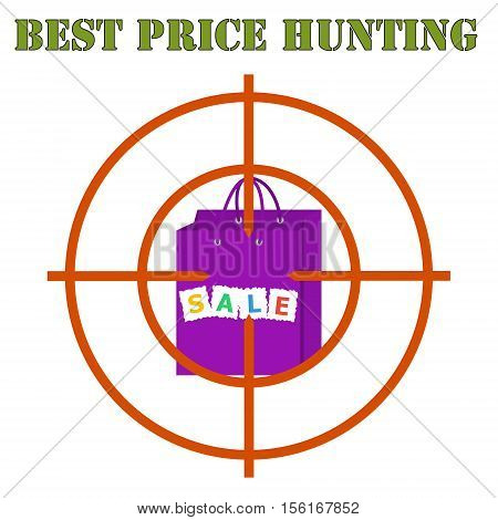 Best price hunting banner. Sales bag at gunpoint on the white background. Flat style vector illustration