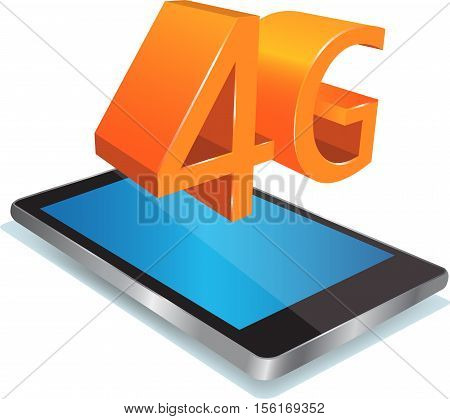 Smartphone with Blue screen and shiny 4G sign above. Modern mobile smart phone with 4G icon isolated on white