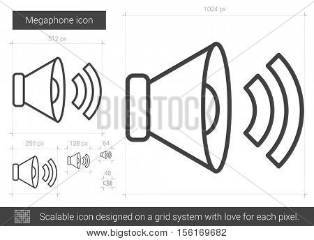 Megaphone vector line icon isolated on white background. Megaphone line icon for infographic, website or app. Scalable icon designed on a grid system.