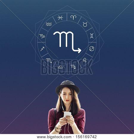 Scorpio Symbol Horoscope Zodiac Graphic Concept