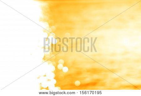 Left aligned glowing sun path yellow ocean with light leak background hd