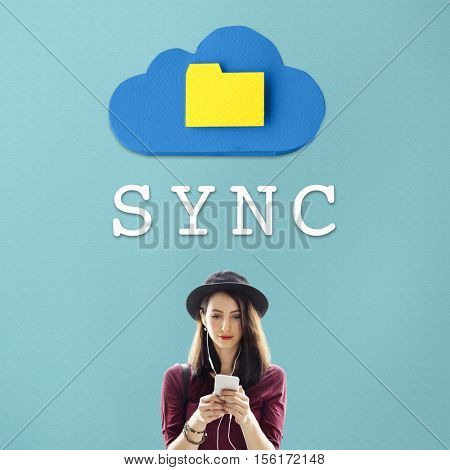 Women Sync Folder Connection Data Information Concept