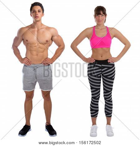 Fitness Man Woman Fit Bodybuilder Bodybuilding Muscles Standing Whole Body Portrait Muscular Young I