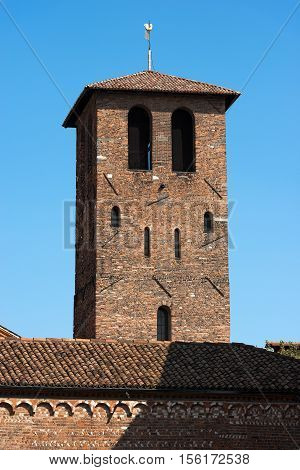 Detail of the famous and ancient basilica of Saint Ambrose (Sant'Ambrogio 379-1099) in Milano Lombardia Italy