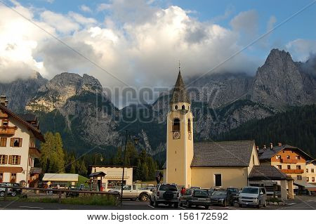 Church of Sant'Osvaldo 1732 (St. Oswald) in Sappada small town in the Italian Alps Belluno Veneto Italy Europe