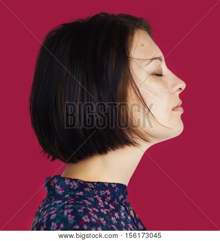 Woman Side View Close Eyes Thinking Concept
