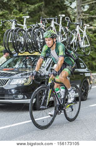 Col du Tourmalet France - July 242014: The French cyclist Bryan Coquard of Team Europcar climbing the difficult road to Col du Tourmalet in Pyrenees Mountains during the stage 18 of Le Tour de France 2014.