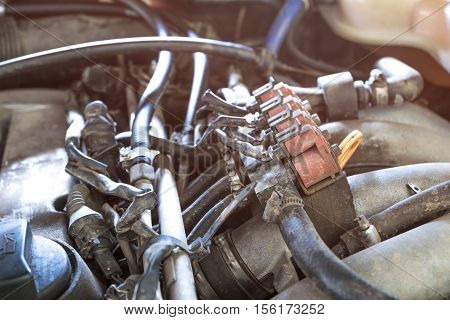 Lpg Car Injectors In Old Car Engine Need To Service, Gas Injector Installed In Gasoline Engine To Us