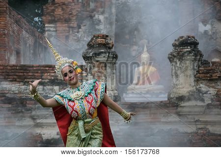 Khon is Traditional Thai drama dance perform at the old capital city of Thailand Ayuthaya.