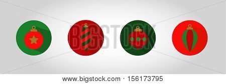Christmas Bauble Icon set 1. Swatches included with vector. Xmas ornaments enclosed in circular holding device with shadow. Great for gift tag decoration etc.