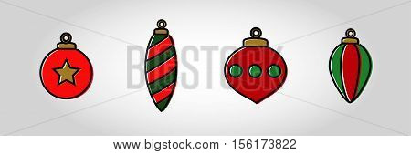 Christmas Bauble Icon Set 3.swatches included with vector. Xmas ornaments with thick out line and displaced fill. Great for decoration for gift tags etc.