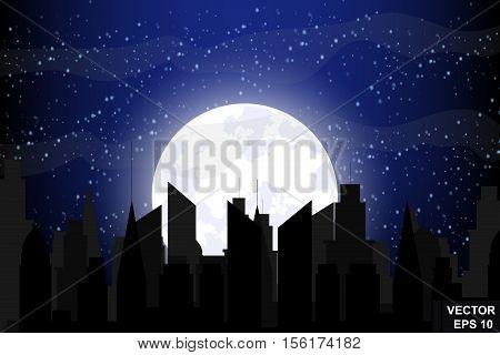 Night city. Landscape. Sleep. Full moon. Flat stil.Otdyh.