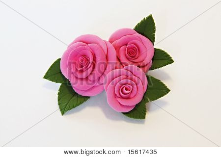 Artificial Flowers (three Big Red Roses With Leaves)