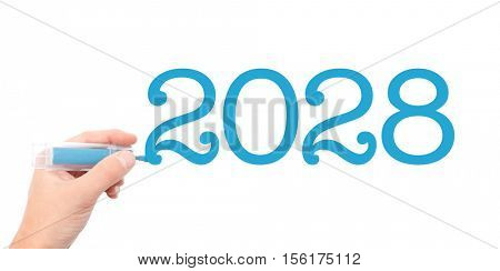 The year of 2028written with a marker