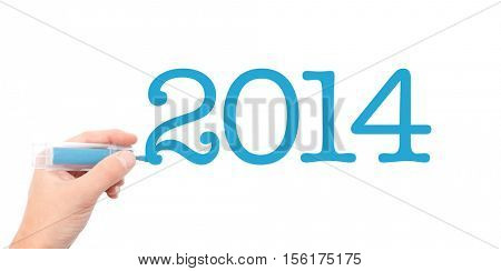 The year of 2014written with a marker