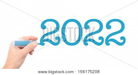 The year of 2022written with a marker