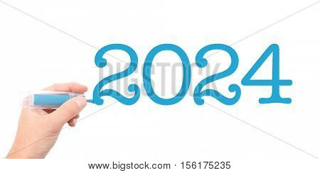 The year of 2024written with a marker