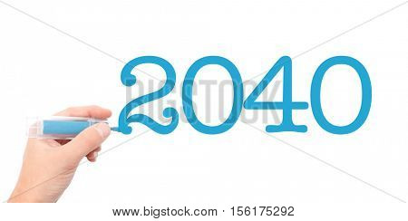 The year of 2040written with a marker